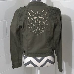 MAURICES Laser Cut Army Green Jacket, size small
